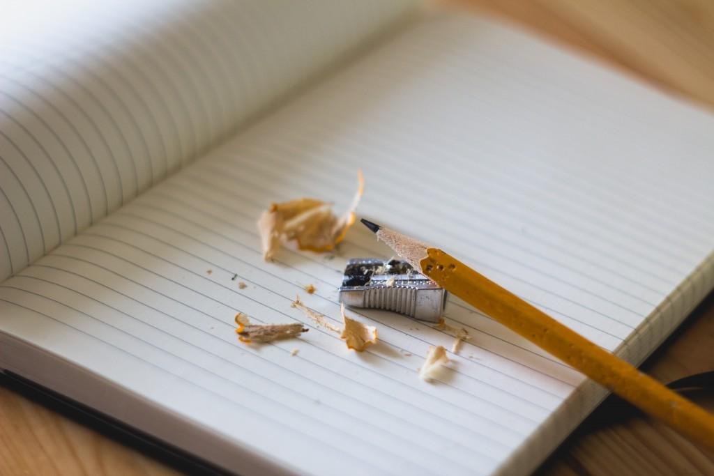 pencil, book & sharpenings